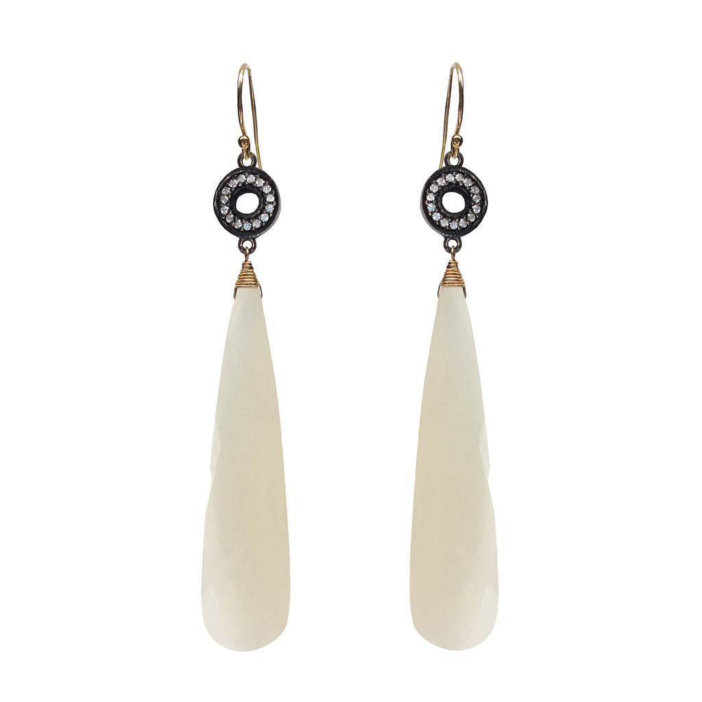 White Chalcedony Accent Earrings, Earrings - Luna Lili Jewelry
