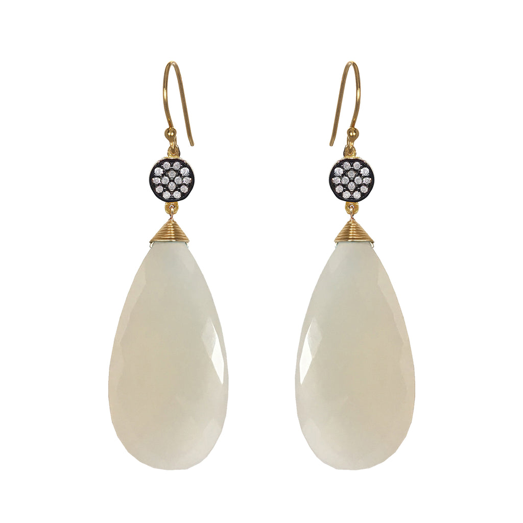 White ChalcedonyCircle Earrings, Earrings - Luna Lili Jewelry