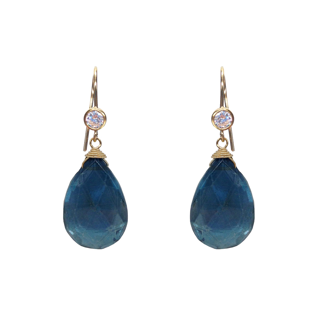 London Blue CZ Earrings, Earrings - Luna Lili Jewelry
