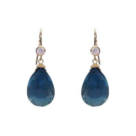 Lapis Gold Nugget Earrings