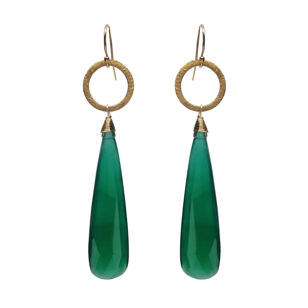 Green Onyx Chalcedony Circle Charm Earrings, Earrings - Luna Lili Jewelry