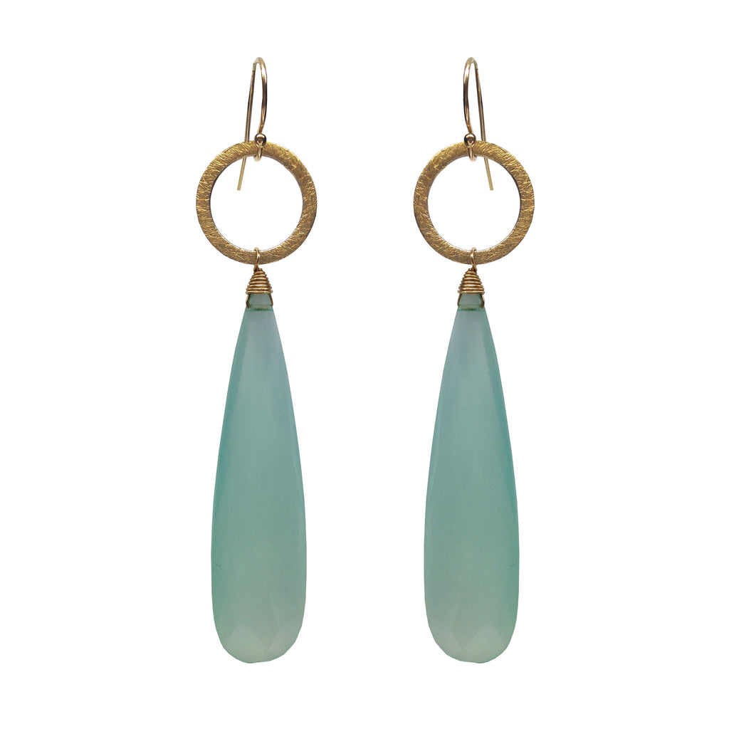 Aqua Chalcedony Circle Charm Earrings, Earrings - Luna Lili Jewelry