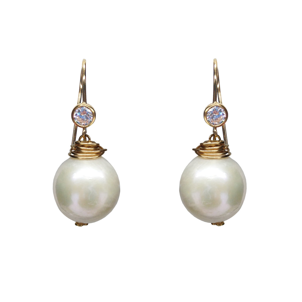 Classic Pearl CZ Earrings, Earrings - Luna Lili Jewelry