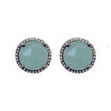 Aqua Chalcedony & Diamond Stud Earrings, Earrings - Luna Lili Jewelry