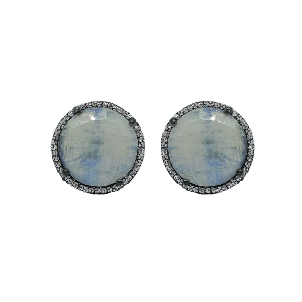 Moonstone & Diamond Stud Earrings, Earrings - Luna Lili Jewelry