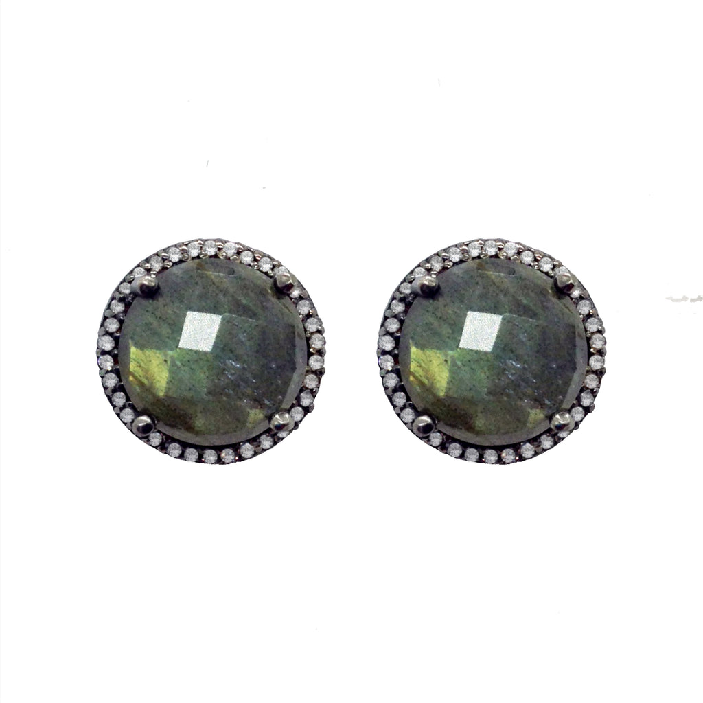 Labradorite & Diamond Stud Earrings, Earrings - Luna Lili Jewelry