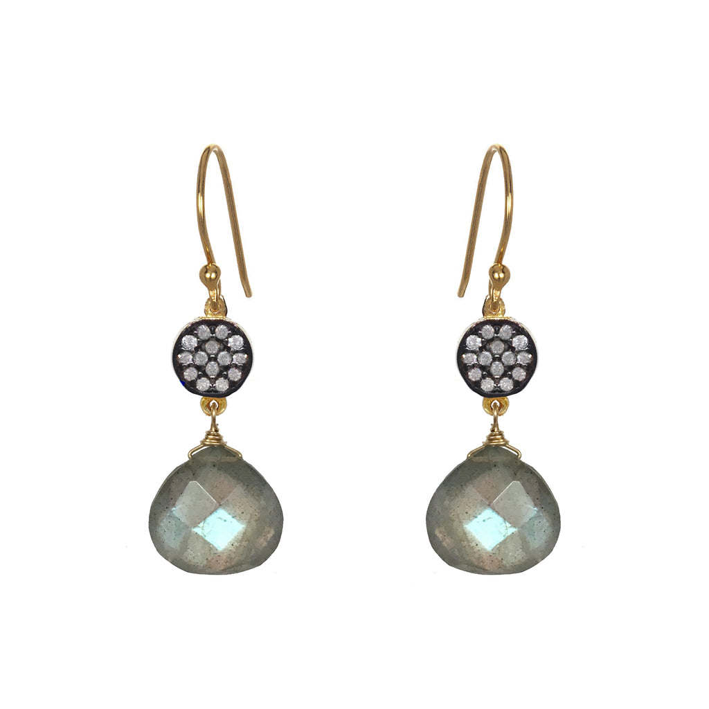 Petite Labradorite White Topaz Accent Earrings, Earrings - Luna Lili Jewelry