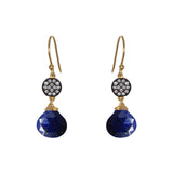 Petite Lapis White Topaz Accent Earrings, Earrings - Luna Lili Jewelry