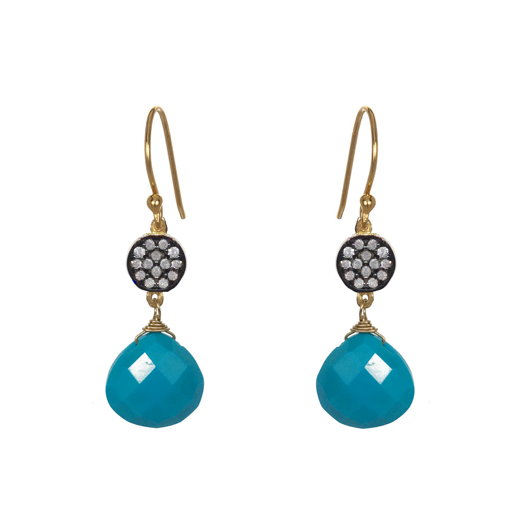 Petite Turquoise White Topaz Accent Earrings, Earrings - Luna Lili Jewelry