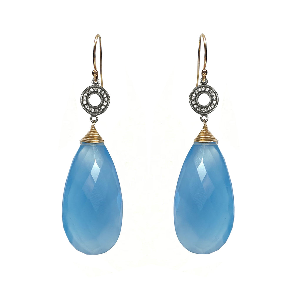 Sky Blue Chalcedony White Topaz Accent Earrings, Earrings - Luna Lili Jewelry