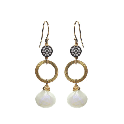 Pearl Chalcedony White Topaz Accent Earrings