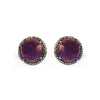 Large Amethyst & Diamond Stud Earrings, Earrings - Luna Lili Jewelry