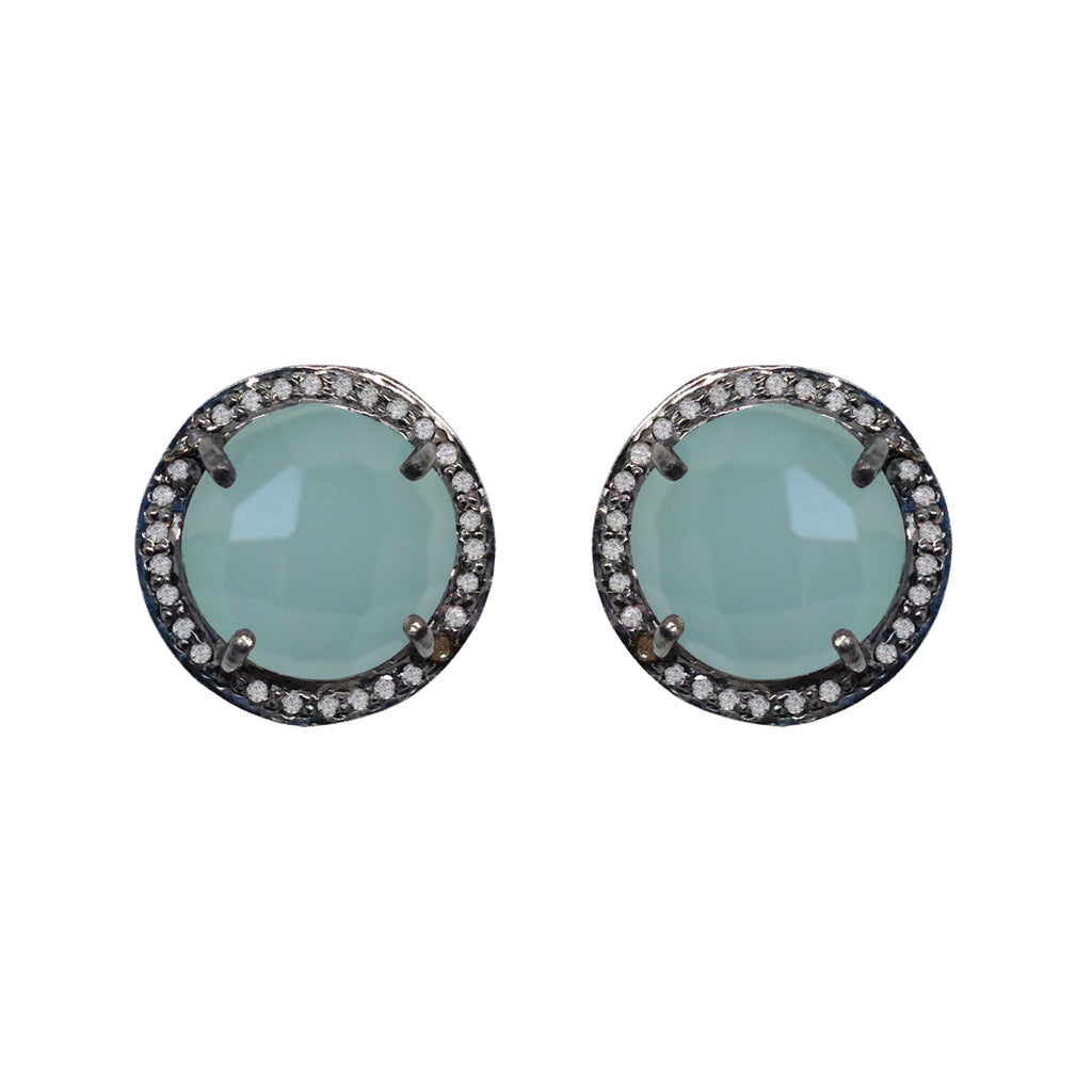 Large Chalcedony & Diamond Stud Earrings, Earrings - Luna Lili Jewelry