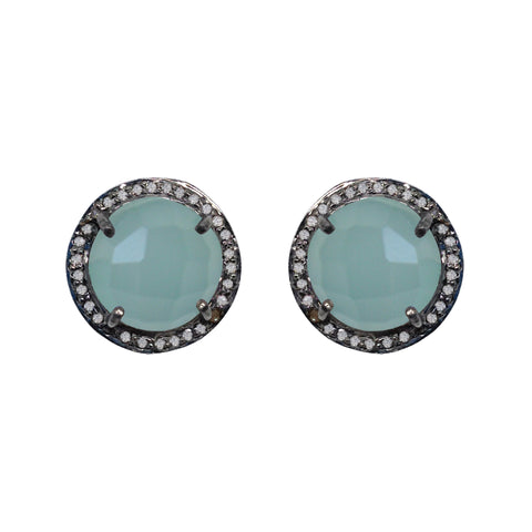 Large Moonstone & Diamond Stud Earrings