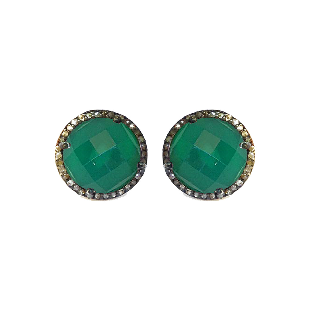 Large Green Onyx & Diamond Stud Earrings, Earrings - Luna Lili Jewelry