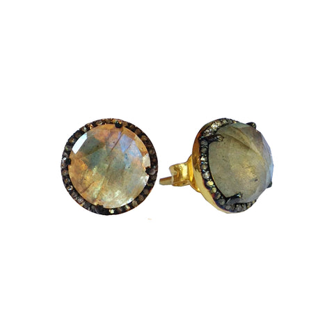 Small Labradorite & Diamond Stud Earrings