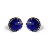 Large Lapis & Diamond Stud Earrings, Earrings - Luna Lili Jewelry