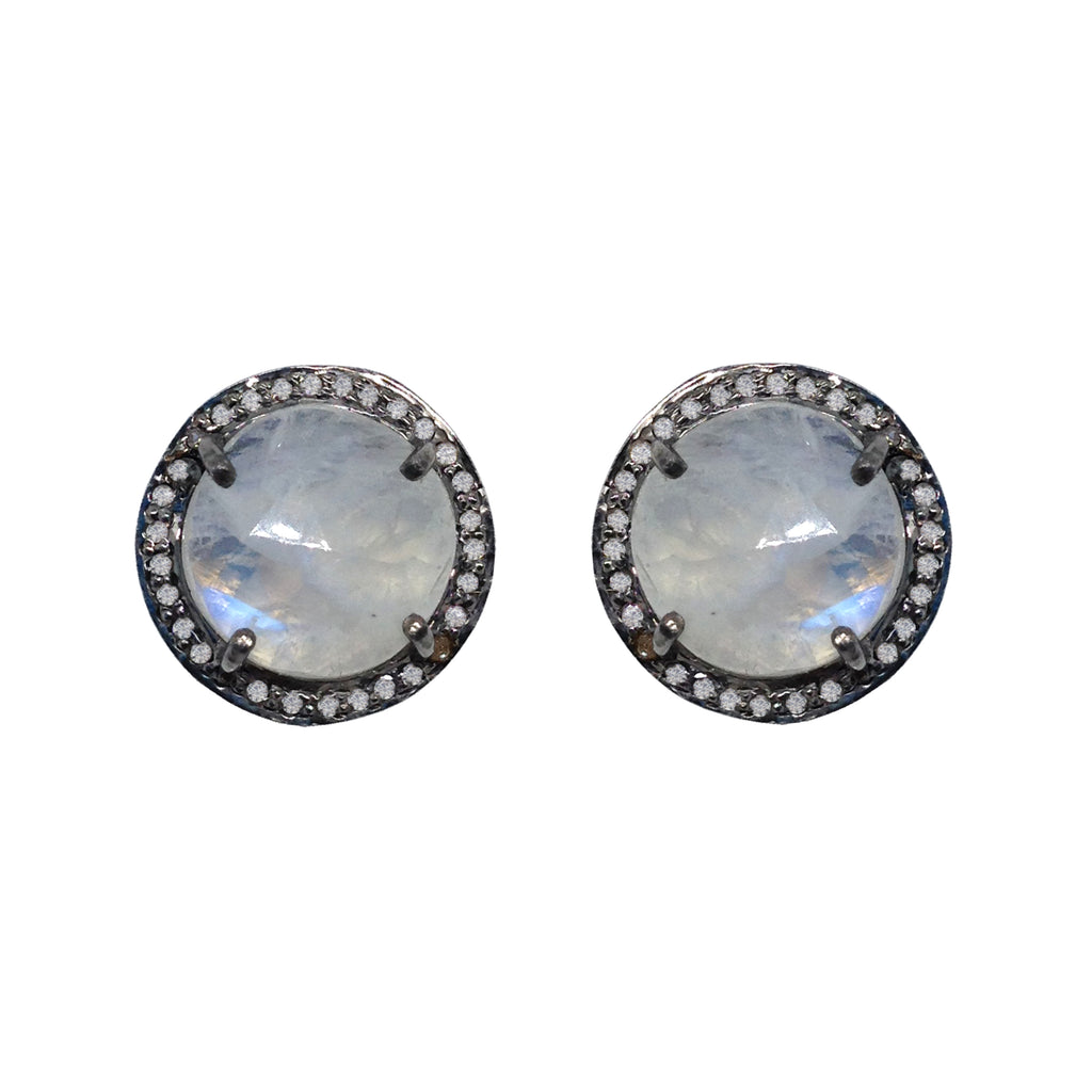 Large Moonstone & Diamond Stud Earrings, Earrings - Luna Lili Jewelry