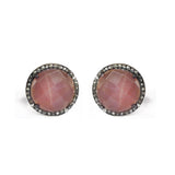 Large Coffee Moonstone & Diamond Stud Earrings, Earrings - Luna Lili Jewelry