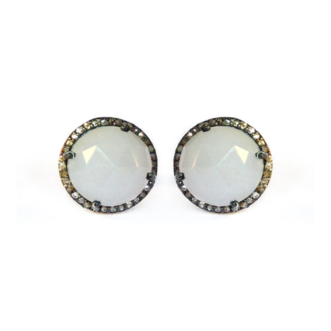 Moonstone & Diamond Stud Earrings