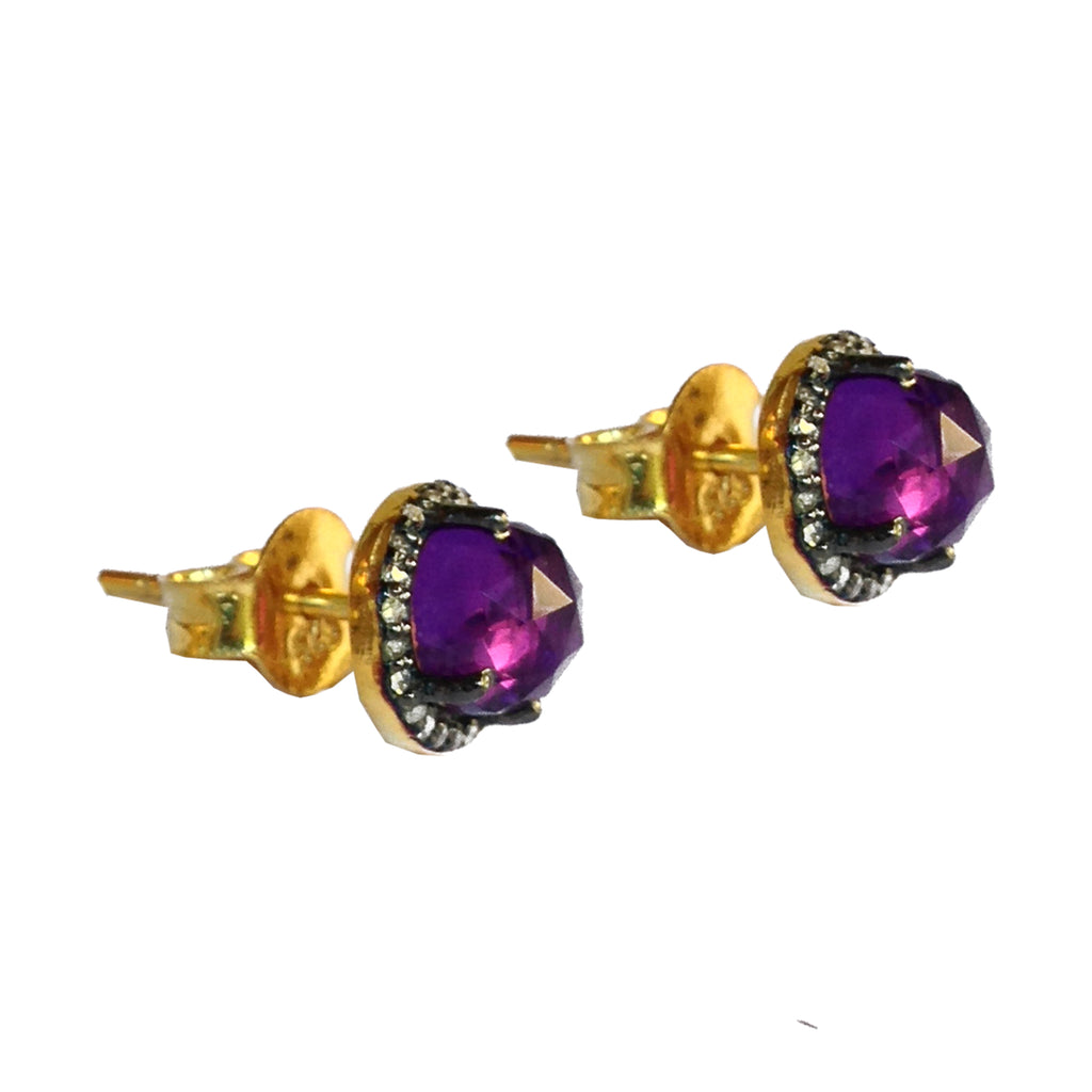 Small Amethyst & Diamond Stud Earrings, Earrings - Luna Lili Jewelry