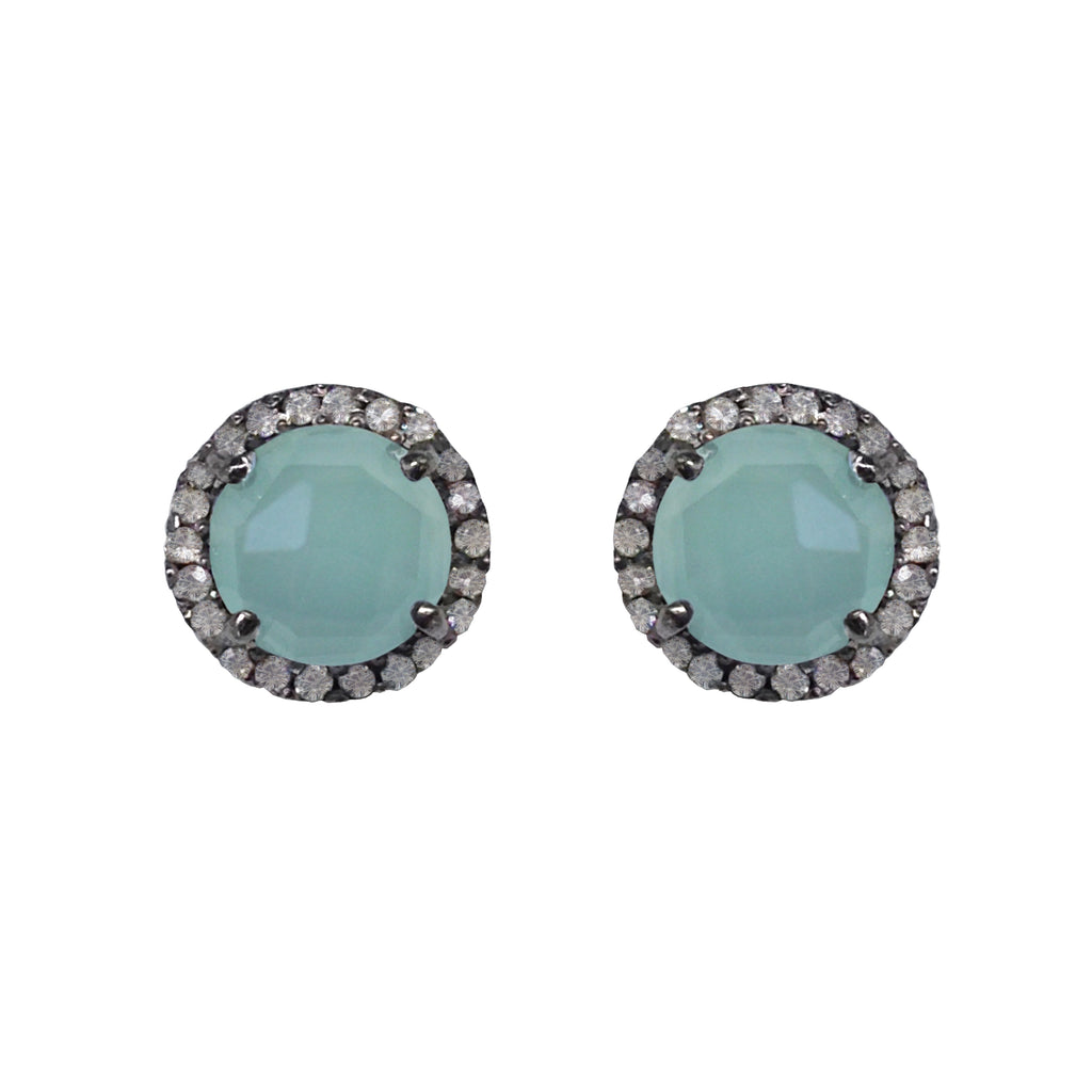 Small Chalcedony & Diamond Stud Earrings, Earrings - Luna Lili Jewelry