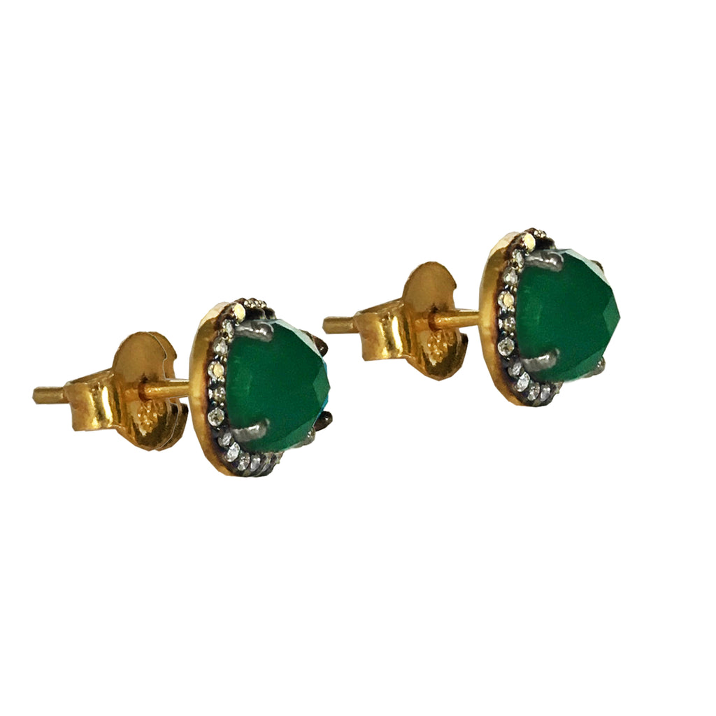 Small Green Onyx & Diamond Stud Earrings, Earrings - Luna Lili Jewelry