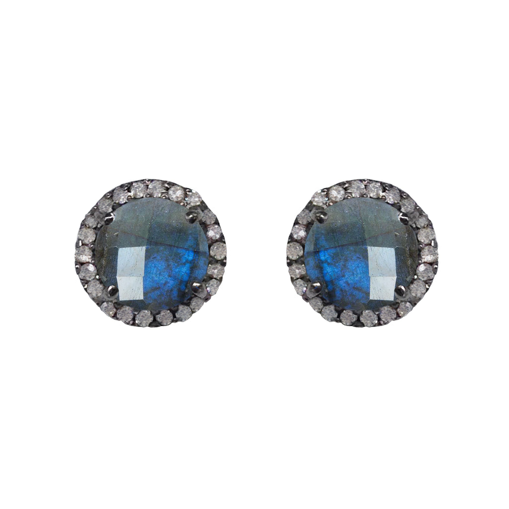 Small Labradorite & Diamond Stud Earrings, Earrings - Luna Lili Jewelry