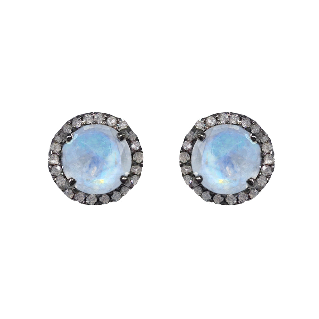 Small Moonstone & Diamond Stud Earrings, Earrings - Luna Lili Jewelry