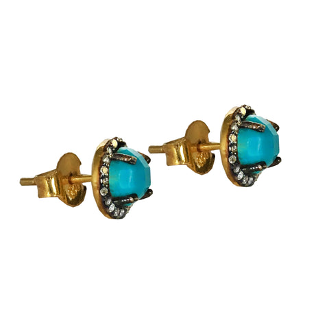 Long Turquoise Floral Earrings