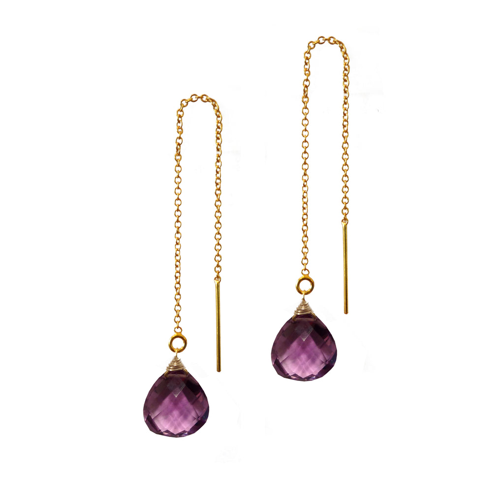 Amethyst Threader Earrings, Necklaces - Luna Lili Jewelry