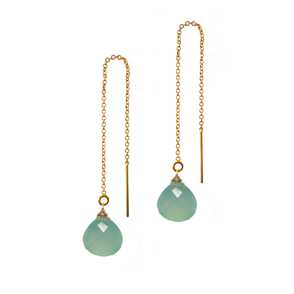 Chalcedony Briolette Threader Earrings, Necklaces - Luna Lili Jewelry
