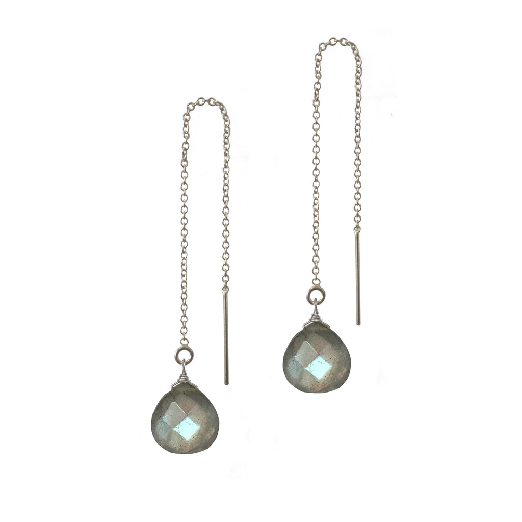 Labradorite Briolette Threader Earrings, Necklaces - Luna Lili Jewelry