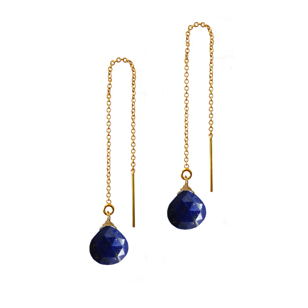 Lapis Briolette Threader Earrings, Necklaces - Luna Lili Jewelry