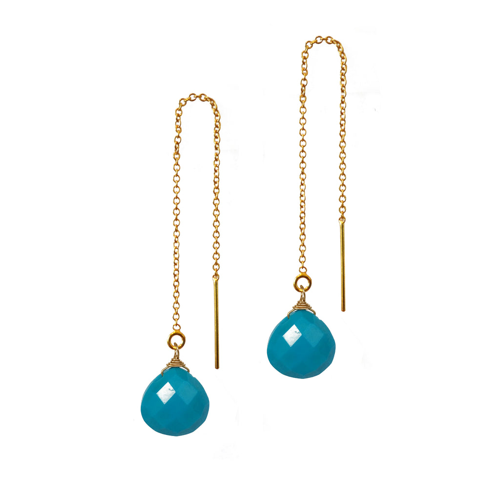 Turquoise Briolette Threader Earrings, Necklaces - Luna Lili Jewelry