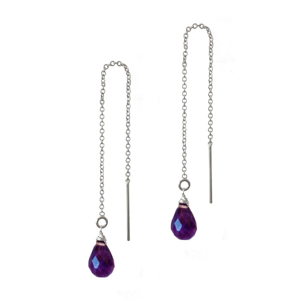 Amethyst Teardrop Threaders, Necklaces - Luna Lili Jewelry