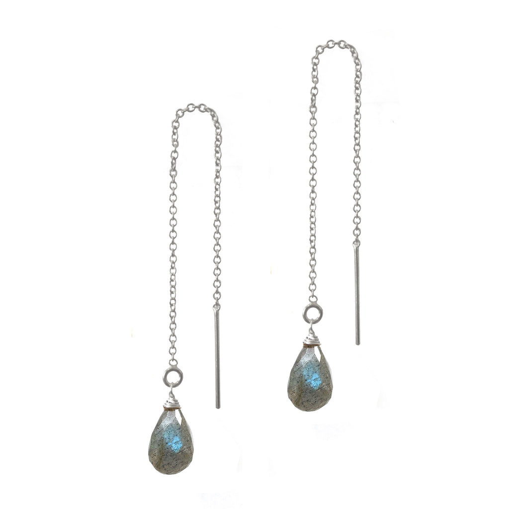 Labradorite Teardrop Threaders, Necklaces - Luna Lili Jewelry