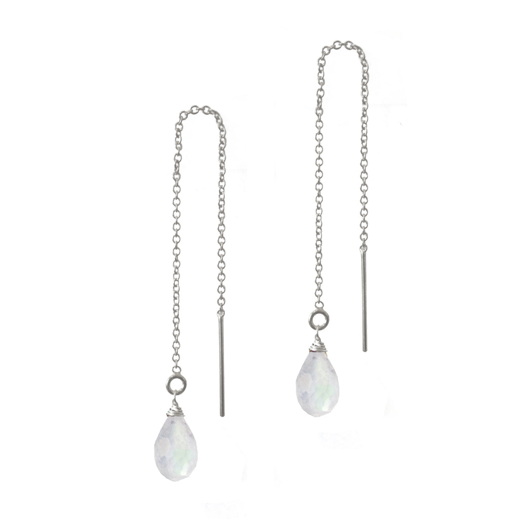 Moonstone Teardrop Threaders, Necklaces - Luna Lili Jewelry