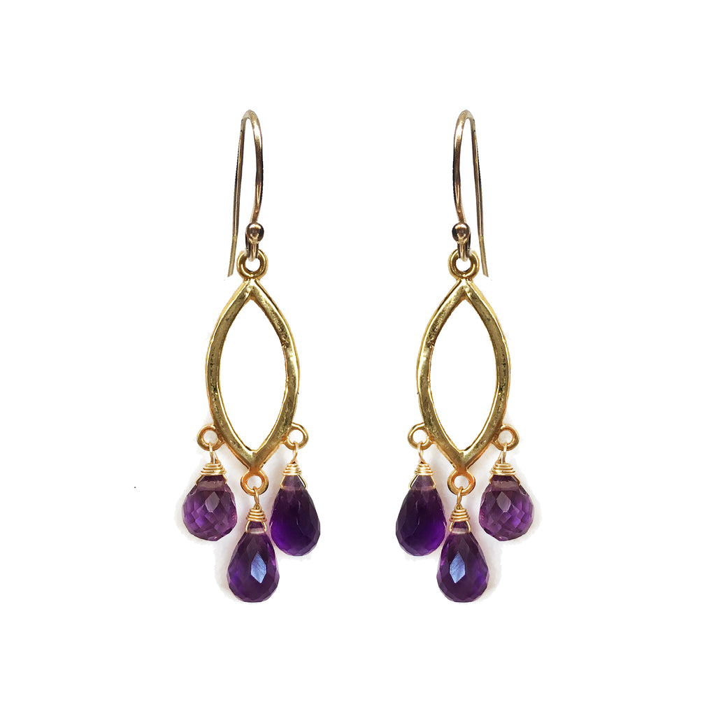 Amethyst Teardrop Chandelier Earrings, Necklaces - Luna Lili Jewelry