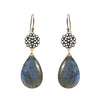 Cabochon Labradorite Floral Charm Earrings, Necklaces - Luna Lili Jewelry