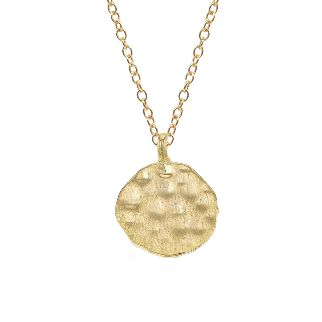 Hammered Disc Charm, Necklace - Luna Lili Jewelry