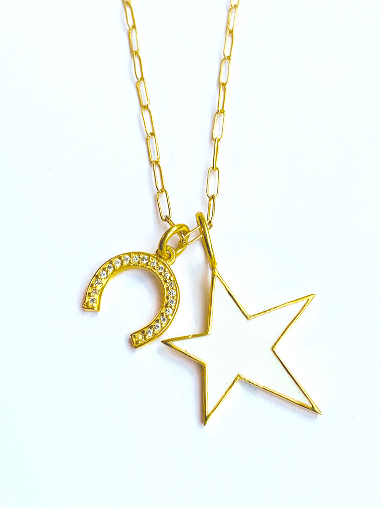 Lucky Enamel Star and Horse Shoe Charm Necklace, Necklaces - Luna Lili Jewelry