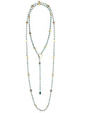 Green Onyx Lariat with Gold Discs, Necklace - Luna Lili Jewelry