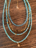 Amazonite Bead Choker with Gold Leaf Charm,  - Luna Lili Jewelry