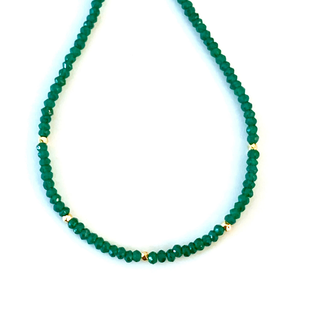 Green Onyx Choker with Gold Beads, Necklace - Luna Lili Jewelry