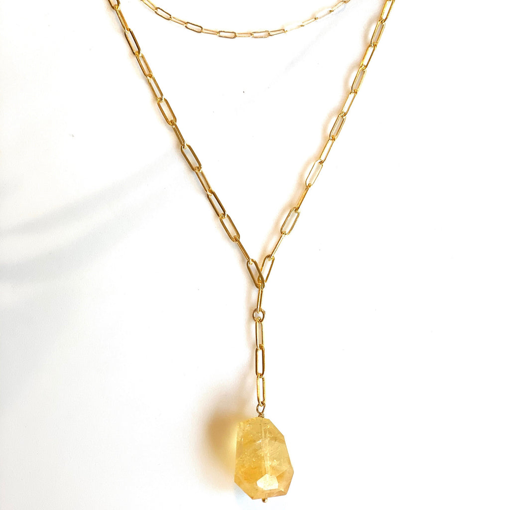 Citrine Leona Lariat Necklace, Necklace - Luna Lili Jewelry