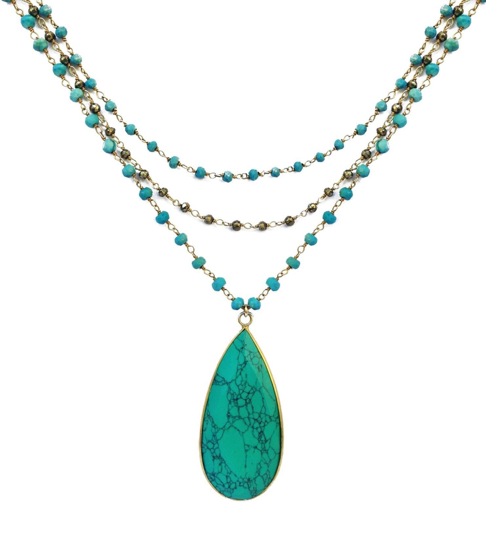 Turquoise Triple Chain Necklace, Necklace - Luna Lili Jewelry