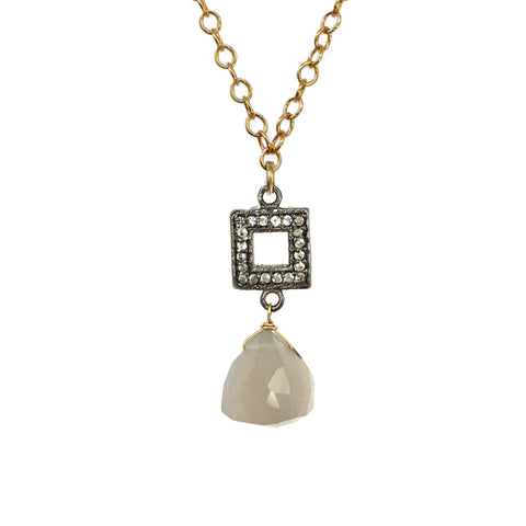 White Topaz Rectangular Mother of Pearl Necklace