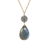 Cabochon Labradorite Floral Charm Necklace, Necklaces - Luna Lili Jewelry