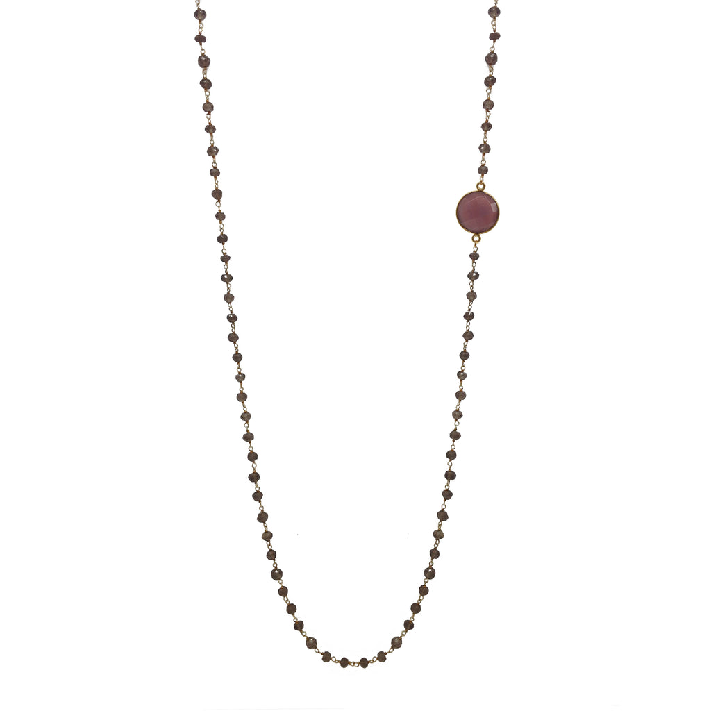 Smoky Quartz Chain with Pink Moonstone Necklace, Necklaces - Luna Lili Jewelry